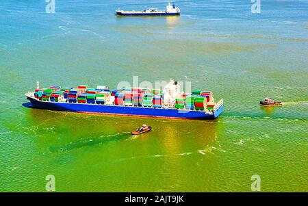 Aerial view on Bayonne Container Vessel reflex - Stock Photo