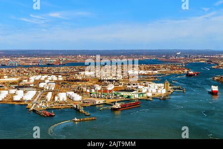Aerial view of oil storages in Bayonne reflex - Stock Photo