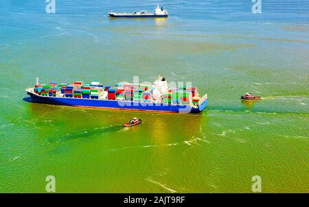 Aerial view of Bayonne Container Vessel reflex - Stock Photo