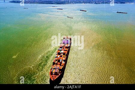 Aerial view on Bayonne Containers Vessel reflex - Stock Photo