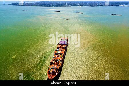 Aerial view to Bayonne Container Vessel reflex - Stock Photo