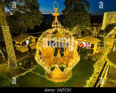 Festive crown illumination Trsat fort in Rijeka Croatia - Stock Photo