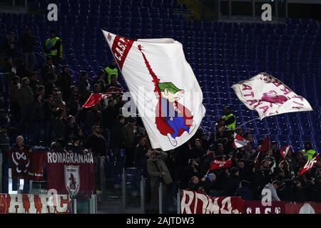 Torino supporters show a flag during the Italian championship Serie A football match between AS Roma and Torino FC on January 5, 2020 at Stadio Olimpico in Rome, Italy - Photo Federico Proietti/ESPA-Images - Stock Photo