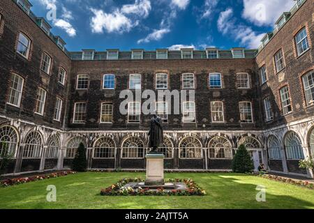 LONDON, UNITED KINGDOM - AUGUST 22:  Traditional architecture of King's College University, an historic university which is highly ranked on August 22 - Stock Photo