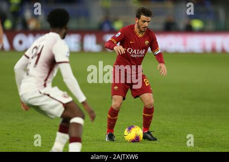 Rome, Italy. 05th Jan, 2020. Alessandro Florenzi (Roma) in action during the Serie A match between AS Roma and Torino FC at Stadio Olimpico on January 5, 2020 in Rome, Italy. (Photo by Giuseppe Fama/Pacific Press) Credit: Pacific Press Agency/Alamy Live News - Stock Photo