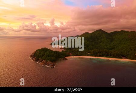 Panoramatic landscape Seychelles island Mahe in Indian ocean, beautiful blue sea with waves, sand beaches and green forest in the tropical paradise. T - Stock Photo