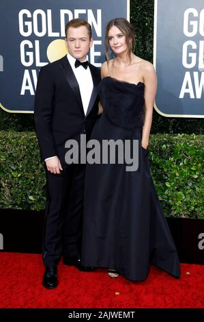Beverly Hills, USA. 05th Jan, 2020. Taron Egerton and Emily Thomas attending the 77th Annual Golden Globe Awards at The Beverly Hilton Hotel on January 5, 2020 in Beverly Hills, California. Credit: Geisler-Fotopress GmbH/Alamy Live News