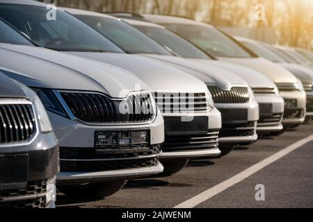 Cars in a rows. Used car sales - Stock Photo