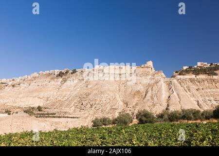 Kerak Castle, Al Karak, on hilltop, Kings Highway, route 35, historical road on the high land, Jordan, middle east, Asia - Stock Photo