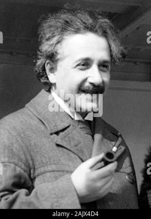 Vintage photo of theoretical physicist Albert Einstein (1879 – 1955). Photo by Bain News Service taken in April 1921 on his arrival in New York. - Stock Photo