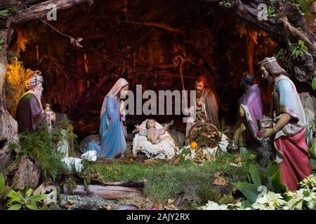 Close up of Christmas crib at Machico, Madeira island, Portugal - Stock Photo