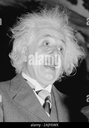 Vintage photo of theoretical physicist Albert Einstein (1879 – 1955) giving a speech at the Eighth American Scientific Congress in Washington DC in May 1940. Photo by Harris & Ewing. - Stock Photo