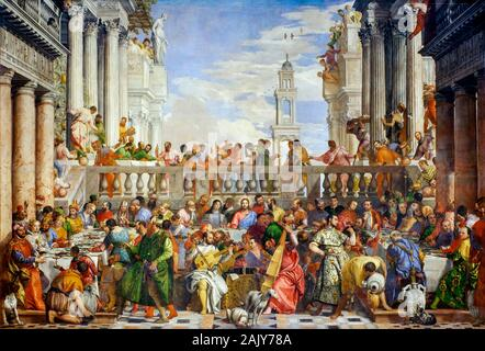 Paolo Veronese, The Wedding Feast at Cana, (The Wedding at Cana), painting, 1562-1563 - Stock Photo