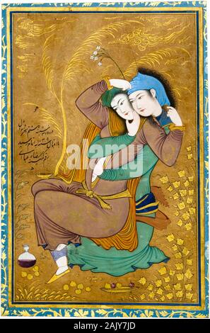 Reza Abbasi, painting, Two Lovers, Vis and Rāmin, 1629-1630 - Stock Photo