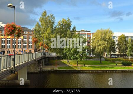 Hameenlinna road bridge. Autumn landscape - Stock Photo