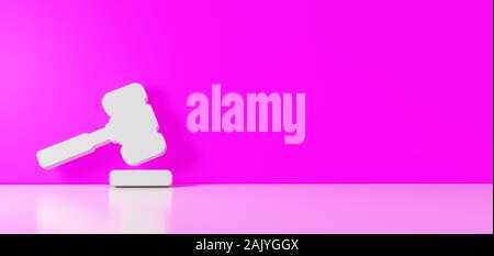 3D rendering of white symbol of law hammer icon leaning on on color wall with floor blurred reflection with empty space on right side - Stock Photo