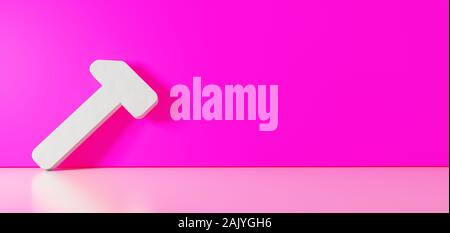 3D rendering of white symbol of workshop hammer icon leaning on on color wall with floor blurred reflection with empty space on right side - Stock Photo