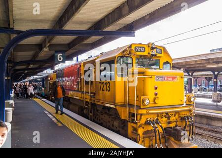 Capital Connection long-distance commuter train at Wellington station, North Island, New Zealand - Stock Photo