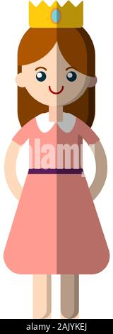 Vector simple illustration of magical fairy tale princess in pink dress and crown. Flat princess icon for game app, kids party, children illustration - Stock Photo