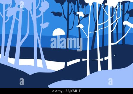 Forest night landscape, jungle trees and mood behind mountains - Stock Photo