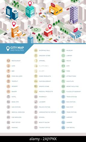 Isometric city map with people, buildings and pin pointers; services, tourism and facilities icons set - Stock Photo
