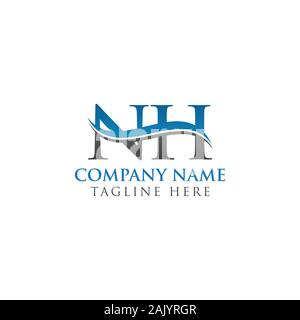Initial Letter NH Logo Design Vector Template. NH Letter Logo Design - Stock Photo