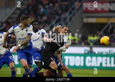 Milano, Italy. 06th Jan, 2020. zlatan ibrahimovic (milan) during AC Milan vs Sampdoria, Italian Soccer Serie A Men Championship in Milano, Italy, January 06 2020 Credit: Independent Photo Agency/Alamy Live News - Stock Photo