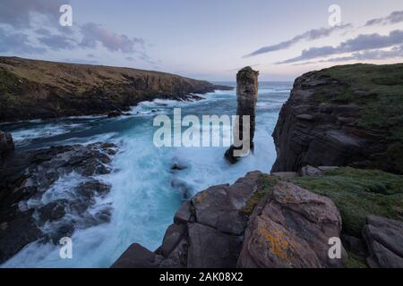 Yesnaby Castle sea stack and coastal cliffs, Orkney, Scotland - Stock Photo