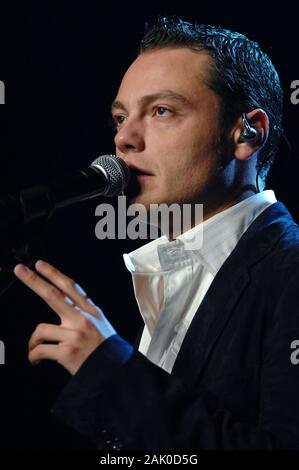 Milan Italy  25 March 2007 , Live concert of 25th birthday of Radio Italia at the DatchForum Assago: The singer Tiziano Ferro, during the show - Stock Photo