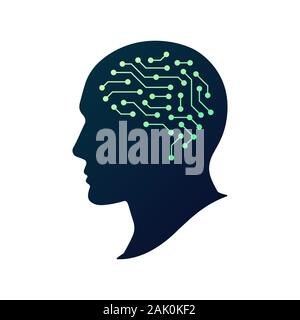 Artificial Intelligence AI vector logo. Artificial human brain. Human head silhouette. Abstract concept of cyber technology, machine learning, robot a - Stock Photo