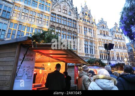 The Christmas market on the pretty Grote Markt in historic Antwerp in Belgium, north Europe - Stock Photo