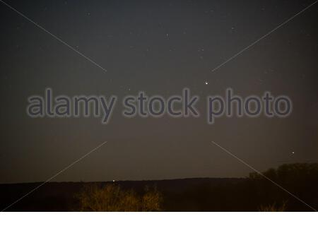 The Southern Cross in the Northern Hemisphere. Gacrux, Becrux, Delta Crucis in Fredericksburg, Texas, USA. Crux. Crux Constellation. Becrux in Texas - Stock Photo