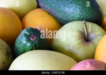 Variety Of Mixed Fresh Fruit Close-up Frame - Stock Photo