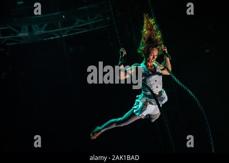 "NoFit State Circus performs their new show ""Lexicon"" at the Roundhouse venue in north London, UK. - Stock Photo"