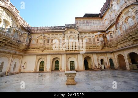 The beautiful palace in the mehrangarh fort in Jodhpur, India.