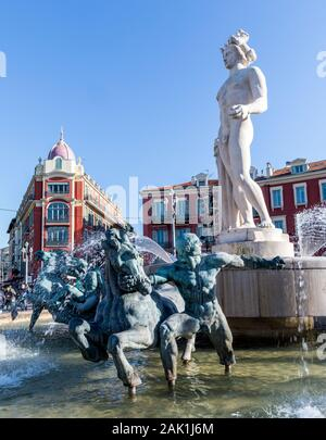 Statue of Apollo In Place Massena Square Nice France - Stock Photo