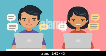 People with speech bubbles and computers. Communication vector - Stock Photo