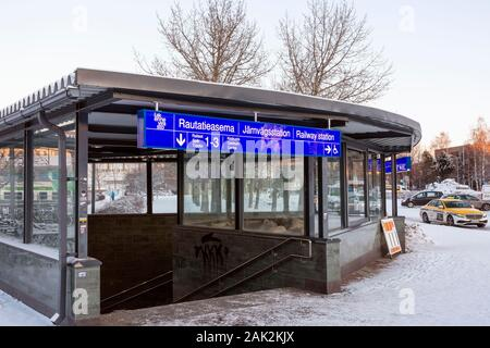 Passage from bus station to railway station in Oulu Finland - Stock Photo