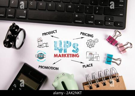 4Ps Marketing. Product, Pricing, Place and Promotion concept. Chart with keywords and icons. Computer keyboard, calculator and stationery on a white office desk - Stock Photo