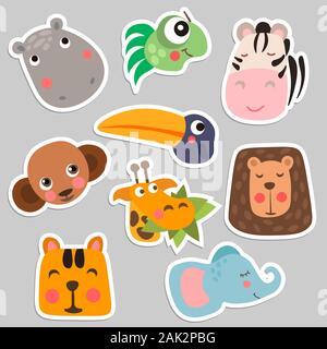 Cute Safari Animal Faces in flat style isolated vector illustration. Decorative safari collection. Cartoon childish vector safari animals face set - Stock Photo