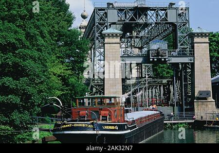 The picture shows a ship in front of the old boat lift Henrichenburg. This is a part of the watergate park Waltrop, North Rhine-Westphalia, Germany. (