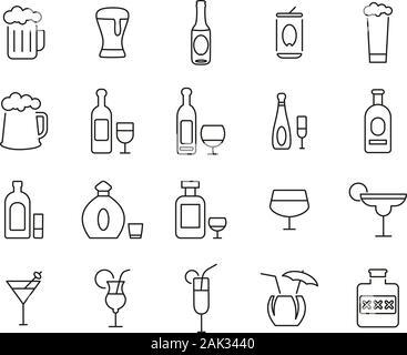Alcoholic Drinks Icons Thin Line Set Big - Stock Photo