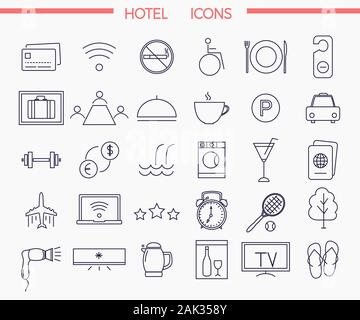 Set of modern trendy style thin line icons for illustrating hotel services and amenities, vector illustration - Stock Photo