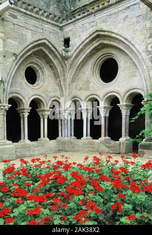View of the early gothic cloister of the Abbey of Fontfroide located southwesterly of Narbonne, France.(undated picture) | usage worldwide - Stock Photo