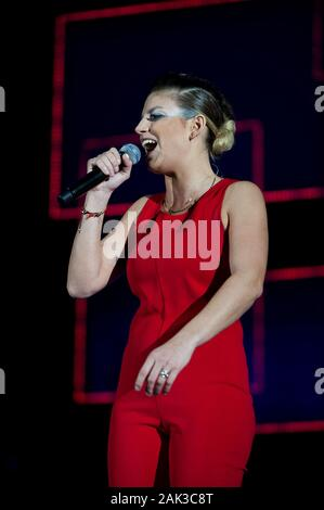 Milan Italy  20 November 2013 : Live concert of Emma at the Mediolanum Forum Assago : Italian singer Emma during the concert - Stock Photo