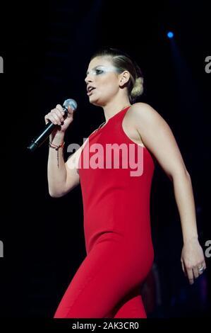 Milan Italy  20 November 2013 : Live concert of Emma at the Mediolanum Forum Assago : Italian singer Emma during the concert - Stock Photo