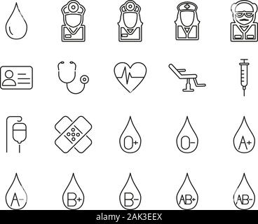 Blood Types Or Blood Donation Icons Thin Line Set Big - Stock Photo