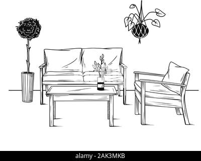 Set of furniture for the garden. Armchairs, sofa and table among the plants. Vector illustration in sketch style - Stock Photo