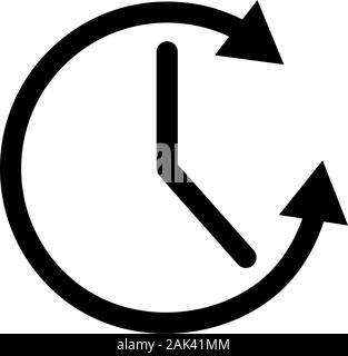 Clock with arrow icon. Running Time Icon. Simple Sign Of Clock Hands And Arrow. Clock Icon - Stock Photo