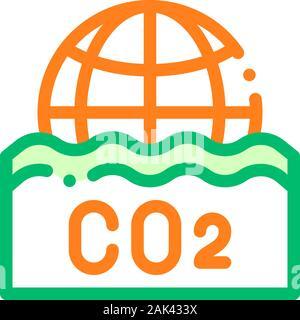 Co2 Smoulder Smoke Steam Vector Thin Line Icon - Stock Photo